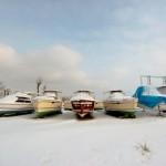 Hausboote in Masuren im Winter