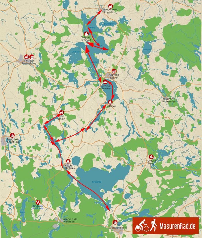Karte-von-Hausboot-Tour-in-Masuren-MasurenRad1